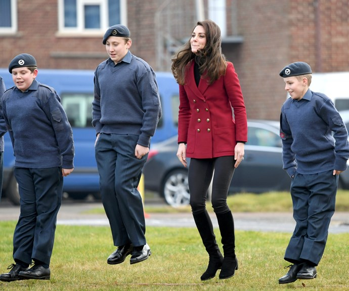 Kate's red peacoat was the perfect nod to Valentine's Day.