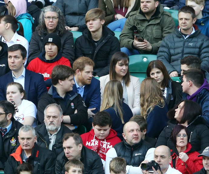 The young royal was seen to chat happily with fellow spectators.