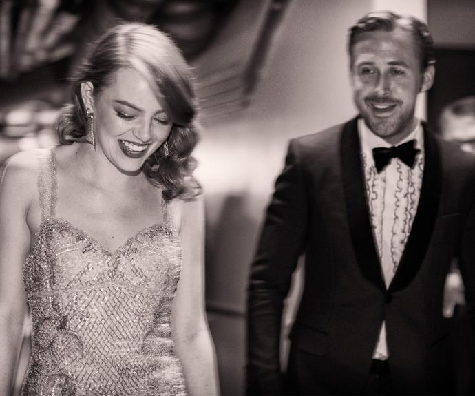 It was a huge night for *La La Land* co-stars Emma Stone and Ryan Gosling, who happily left the drama of the Best Picture stuff up behind them as they celebrated together.