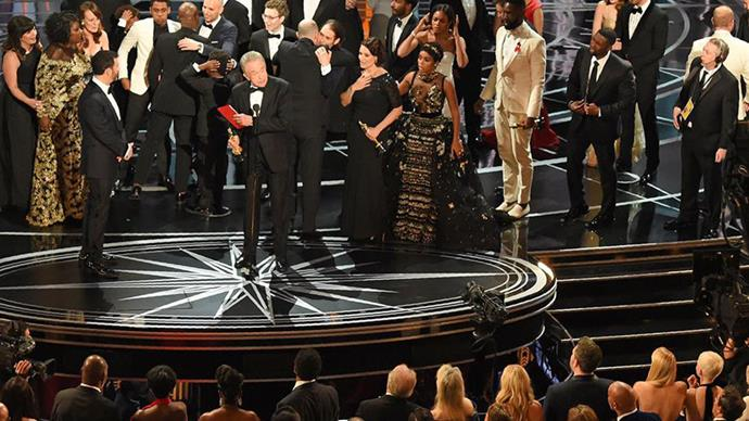 EXACT MOMENT the A-listers realised there had been an epic mistake at the Oscars 2017
