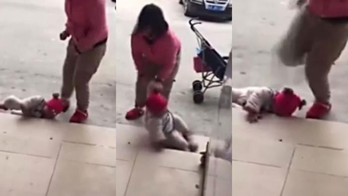 Horrific footage emerges of woman abusing and kicking her toddler girl