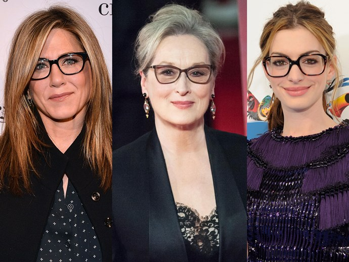 Jennifer Aniston, Meryl Streep, Anne Hathaway, glasses