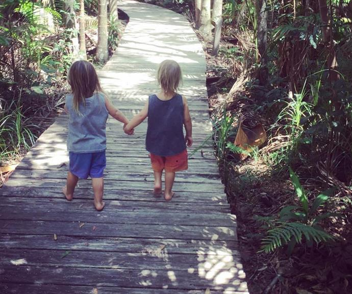 "Chris Hemsworth has shared an adorable snapshot of his two-year-old twin boys holding hands… and it seems they're developing quite the little personalities! The 33-year-old captioned the photo, ""My son said to his brother 'Tristan hold my hand so you don't get eaten by a crocodile' #mykids #littlelegends @australia #byronbay."" You little rippers!"