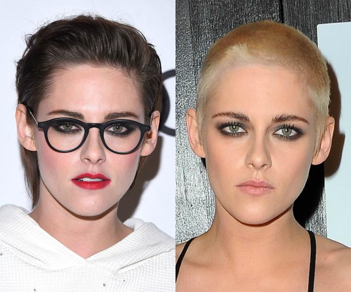 Kristen Stewart debuted her bold new look, a rocker-like buzz cut, at the *Personal Shopper* premiere in Los Angeles. And not only did the then 26-year-old actress opt for a much MUCH shorter 'do, she also went platinum blonde! Kudos, K-Stew... we love a little fearlessness.
