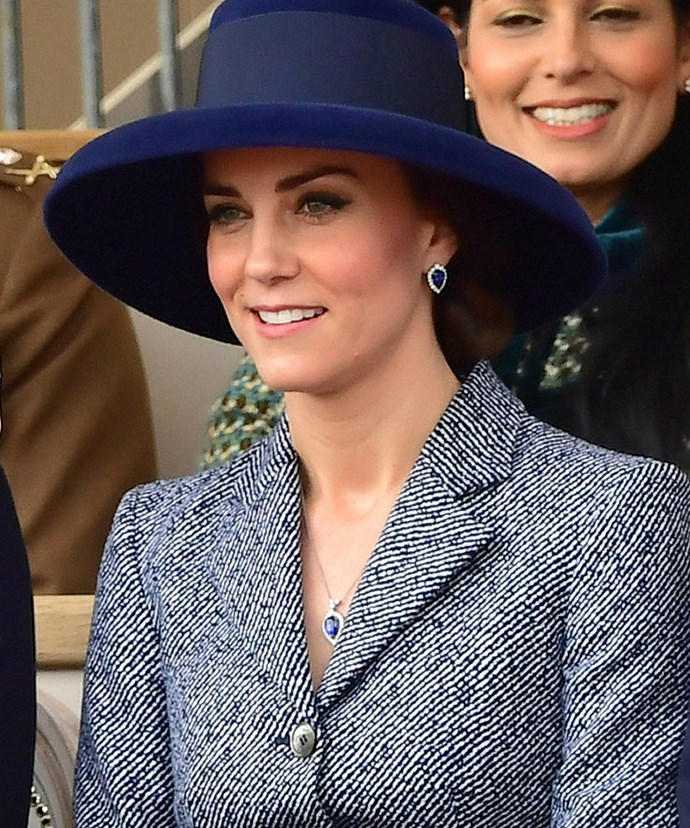 Kate looked stunning in the navy blue ensemble.