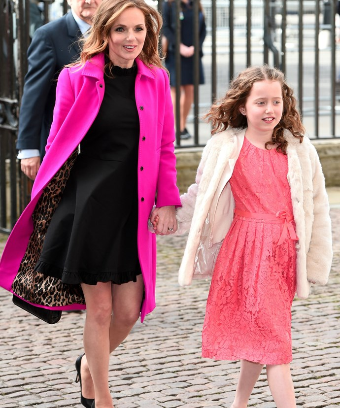 Geri and Bluebell looked stunning in similar pink hues for the important occasion.