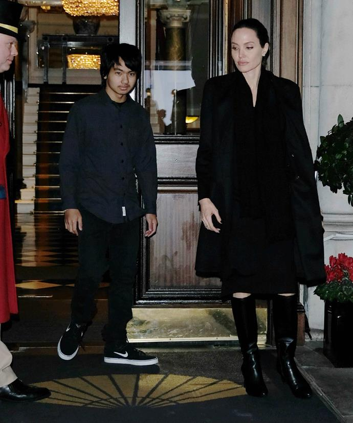 Angelina and Maddox were pictured leaving their swanky hotel as they made tracks toward the palace.