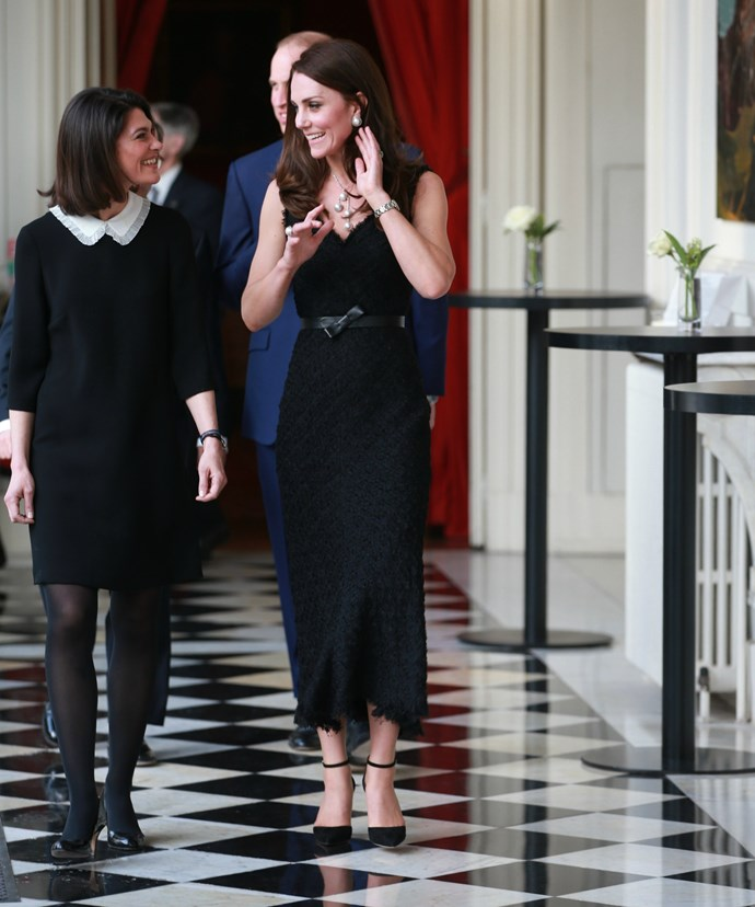 Kate matched the midi-length cocktail dress with a pair of point-toe pumps from Gianvitto Rossi and a new piece of statement jewellery, which featured large pearls.