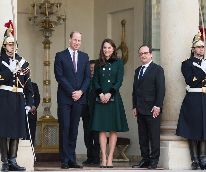 Kate and Wills posed for pictures on the steps of the Elysee Palace, the president's official residence.