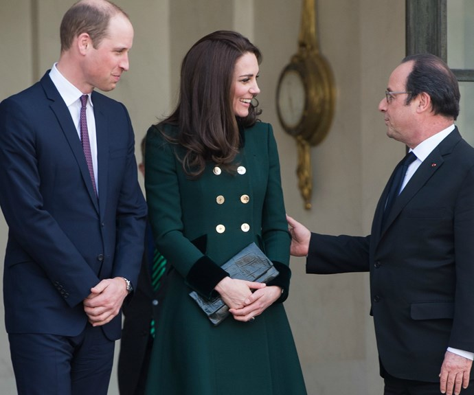 The royal couple went into the Elysee for a short reception with the president.