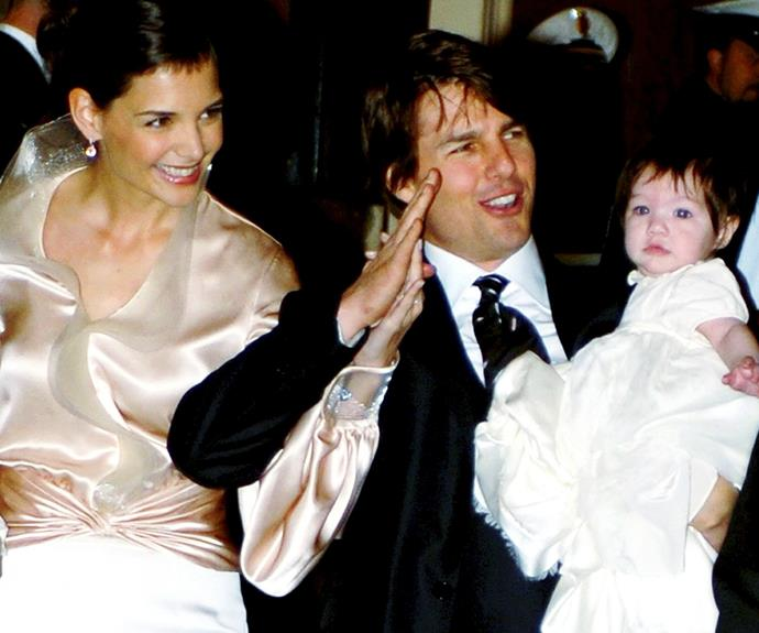 Tom is pictured alongside his ex-wife Katie and daughter Suri ahead of their Italian wedding in 2006.