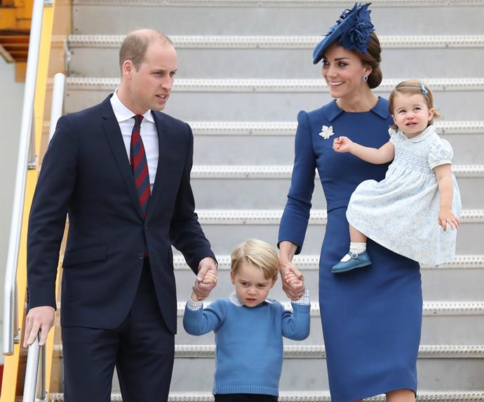 The duke and duchess of cambridge, prince george, princess charlotte,