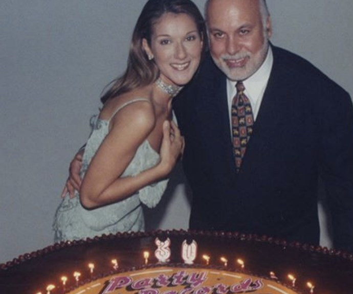 Celine is pictured here with her late husband, Rene Angelil, on her 30th birthday.