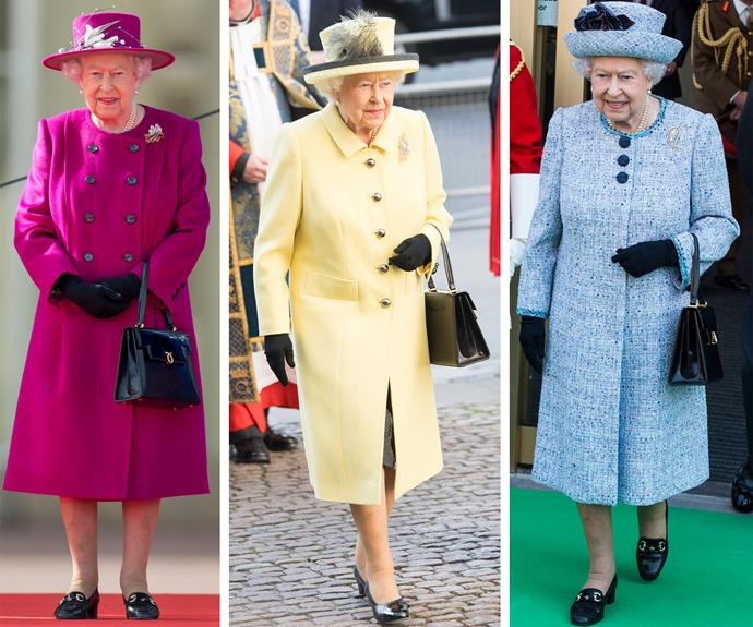"The Queen is known to wear a few different styles of shoes from shoemaker Anello & Davide, but according to [Stewart Parvin](http://www.standard.co.uk/lifestyle/london-life/the-queen-has-a-bizarrely-ingenious-way-to-break-in-her-shoes-a3511951.html|target=""_blank""