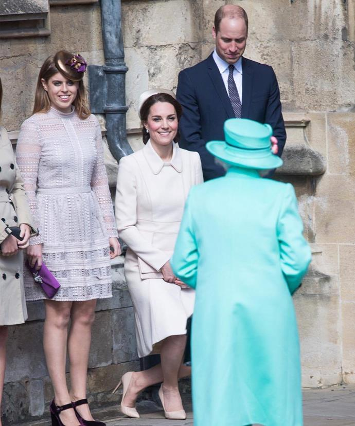 The Duchess of Cambridge shone in a bright cream coat by go-to designer Catherine Walker, which she paired with a hat of the same colour that sat atop her neat chignon.