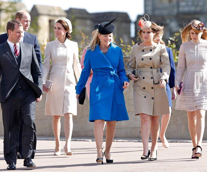 Autumn Phillips leads the way in a striking, cobalt blue coat.
