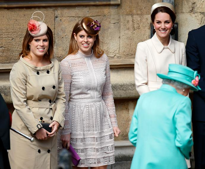 Princess Beatrice and Princess Eugenie bring on the spring in neutral hues.