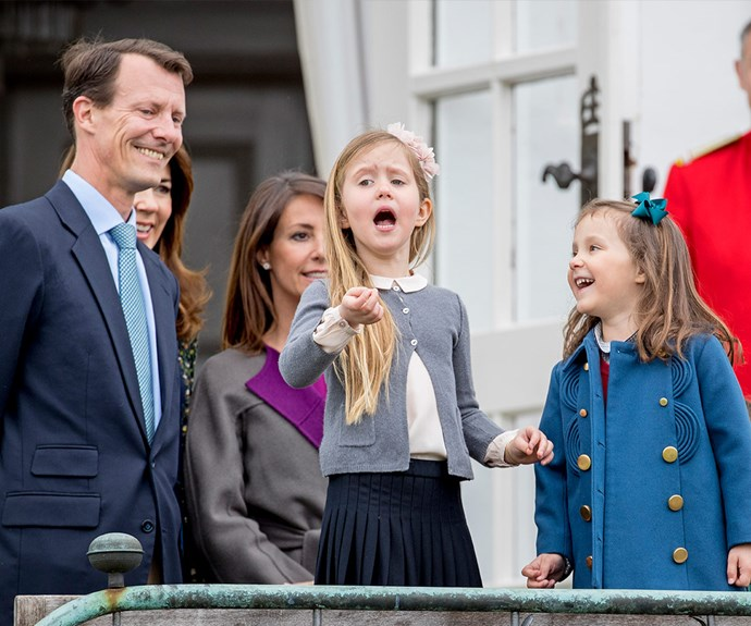 Prince Joachim watches on as his niece Princess Josephine and daughter Princess Athena joke about.