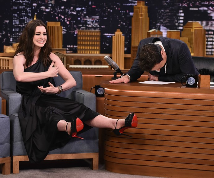 The 34-year-old playfully mimicked the awkward mishap to the delight of host Jimmy Fallon and the live studio audience.