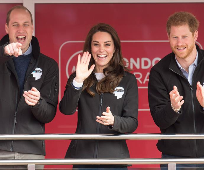 Royal support: Prince William, Duchess Catherine and Prince Harry attend the London Marathon