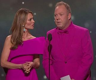 Peter Helliar and Kat Stewart mock the infamous #jacketgate