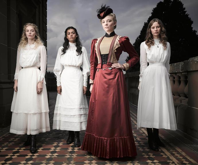 The cast includes (from left) Samara Weaving, Madeleine Madden, Natalie Dormer and Miranda Reid.