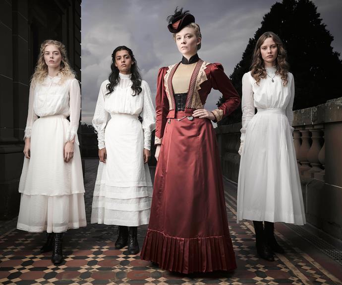 The cast includes (from left) Samara Weaving, Madeleine Madden, Natalie Dormer and Miranda Reid.