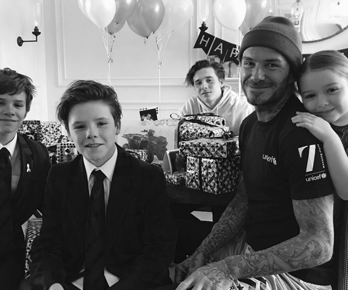 David with his darling kids on his 42nd birthday.
