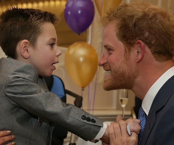 Prince Harry is pictured with little Ollie at the WellChild Awards last October.