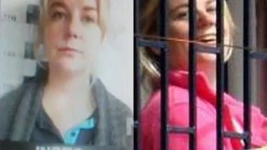 Footage of accused drug smuggler Cassie Sainsbury waving and laughing hysterically from prison gates