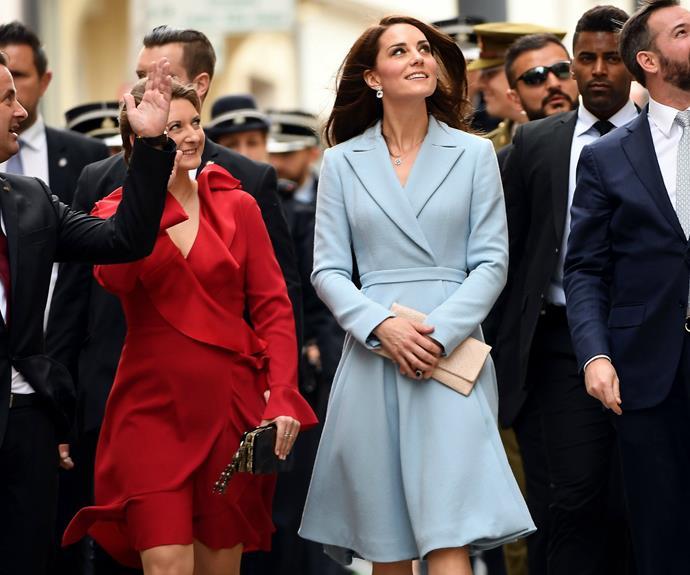 Kate looked elegant is a powder blue wool coat designed by Emilia Wickstead.