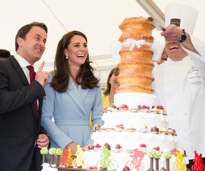 At the cycling-themed event, the royal was treated to a bevy of local delicacies.