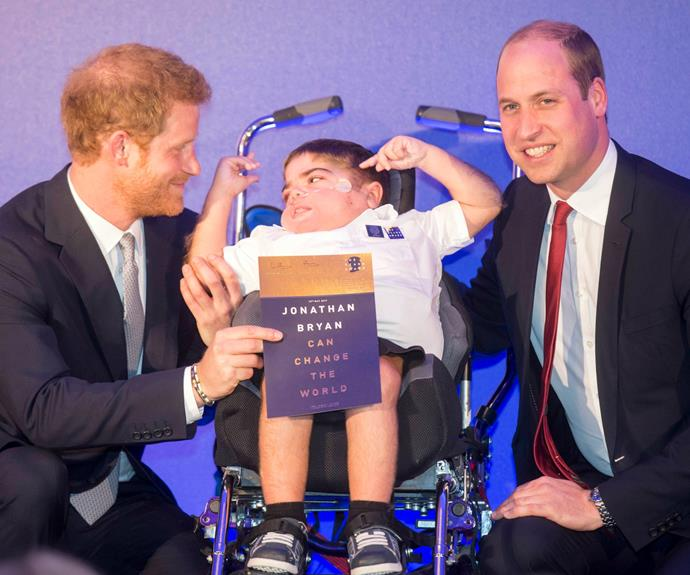 "Jonathan, who campaigns for people with disabilities, told the princes to ""never judge a book by its cover; never look at a child like me and assume we are not worth teaching."""