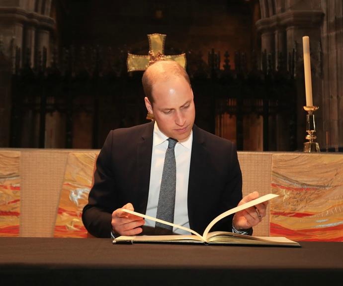 The 34-year-old's next stop was to the Manchester Cathedral where he took the opportunity to read past messages of strength and hope written in a book of condolence.