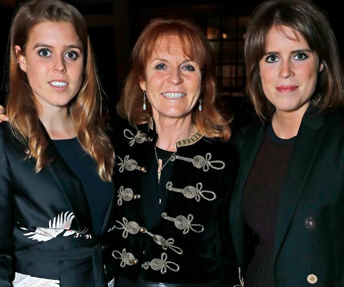 Sarah is pictured with her two children -- Princess Beatrice (L) and Princess Eugenie (R).