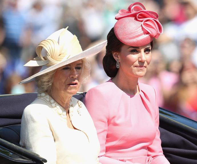 The Duchess was pretty in a pink Alexander McQueen dress and a matching hat by Jane Taylor.
