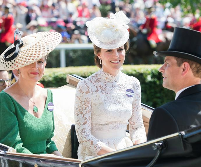 Duchess Kate arrived via the traditional carriage procession, alongside husband Prince William, Prince Edward and the Countess of Wessex.