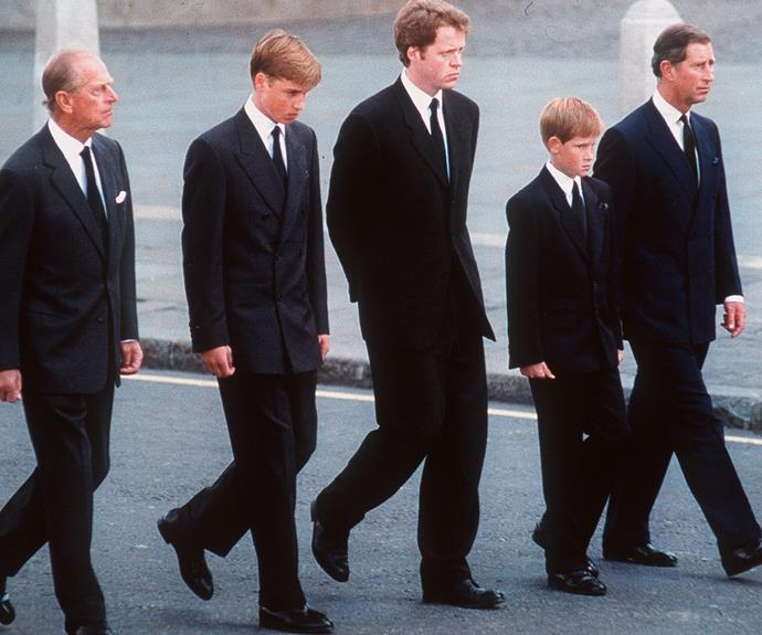 Harry walked alongside his older brother Prince William, his father Prince Charles, his grandfather Prince Philip and his uncle, Earl Spencer.