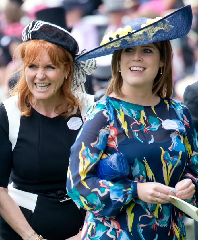 Despite the sweltering temperatures, Sarah and Eugenie were in high spirits.