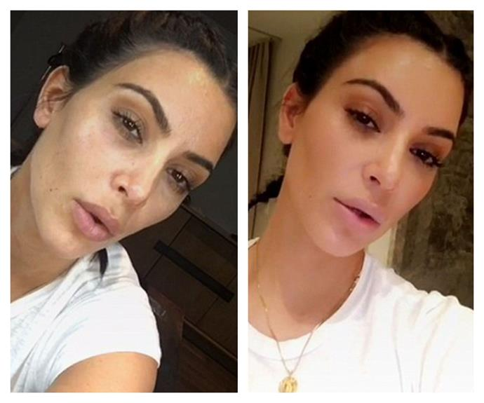 Kim Kardashian, 36, has taken to Instagram Live to show her fans how to achieve her famously flawless contour application -- and in case you're wondering, it takes around 12 minutes and includes nine steps. The result? Stunning. But, the takeaway? The reality star is stunning with or without makeup.