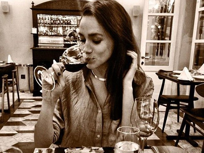 meghan markle drinking wine