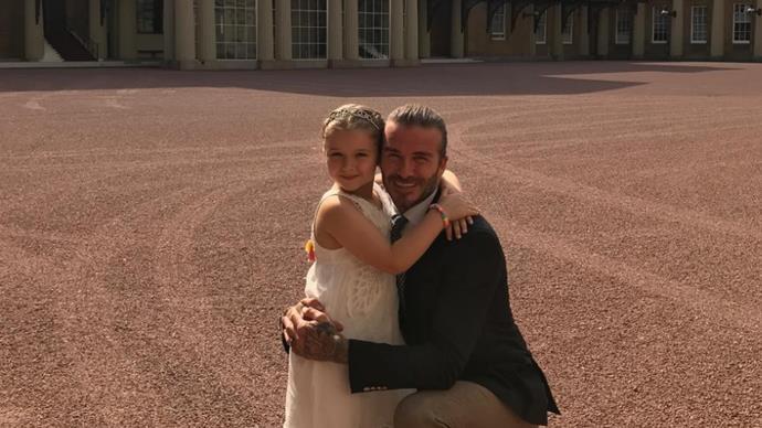 David Beckham and Harper Beckham at Buckingham Palace
