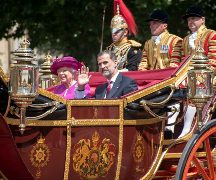 Her Majesty the Queen and King Felipe VI were seen to chat happily during the processional.
