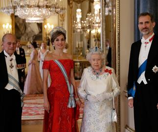 Queen Elizabeth, King Felipe, Prince Philip and Queen Letizia