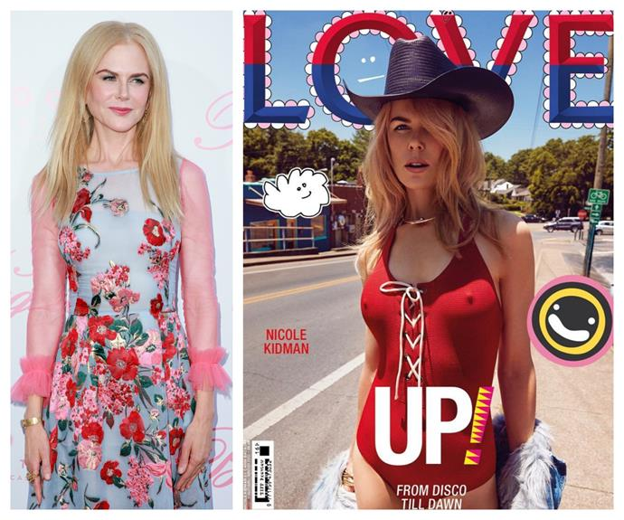 "Nicole Kidman, 50, has stepped way out of her comfort zone to pose on the cover of [*LOVE*](http://www.thelovemagazine.co.uk/|target=""_blank""
