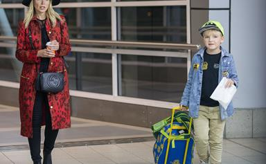 Touchdown! Dannii Minogue and Ethan Smith return home from the States