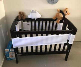 Can you see the snake next to the baby's cot in this picture?