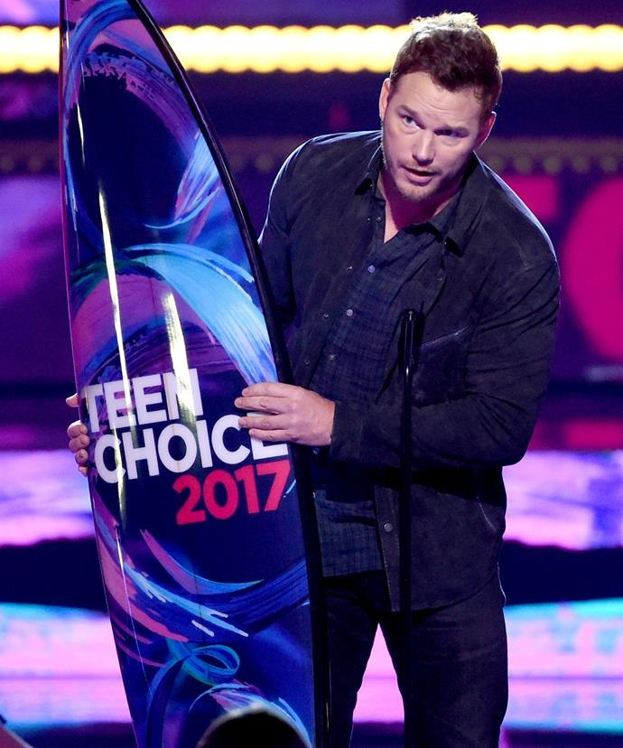 Chris made his first public appearance since splitting with Anna at the Teen Choice Awards in Los Angeles.