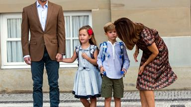 Princess Mary and Prince Frederik's twins set off on their first day of big school