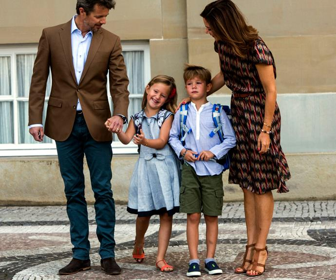 The royals posed for photos outside their home Amalienborg Palace, in Copenhagen.